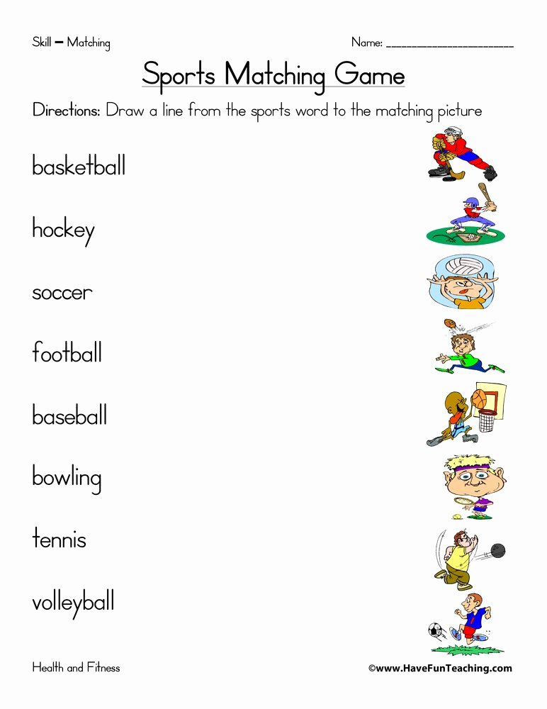 Sports Worksheets for Preschoolers Kids Sports Matching Worksheet