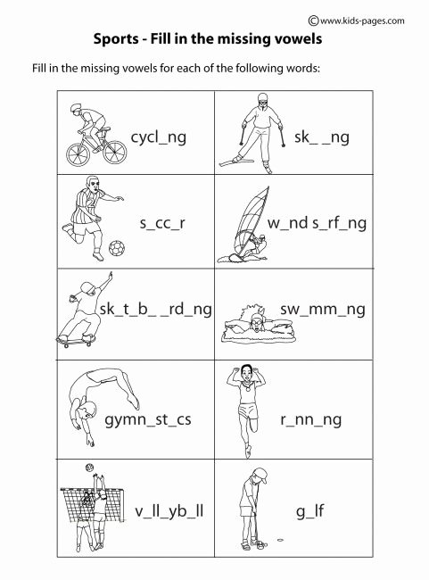 Sports Worksheets for Preschoolers top Sports Fill In B&w Worksheet