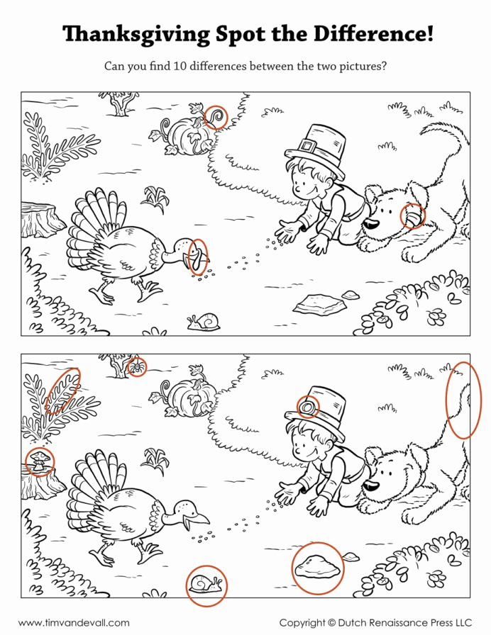 Spot the Difference Worksheets for Preschoolers Kids Spot the Difference Printable Find Worksheets Thanksgiving