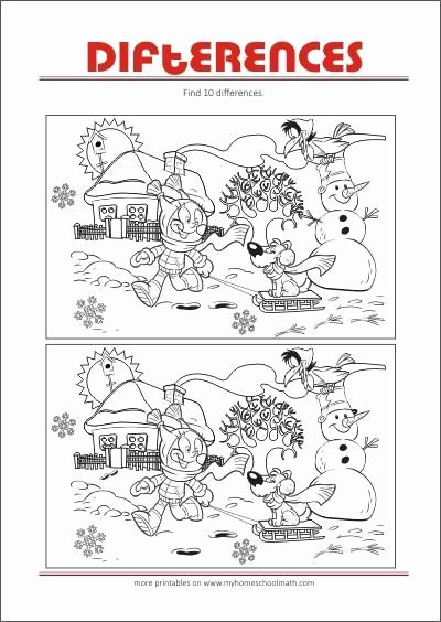 Spot the Difference Worksheets for Preschoolers Printable Spot the Difference Worksheets Kids In 2020
