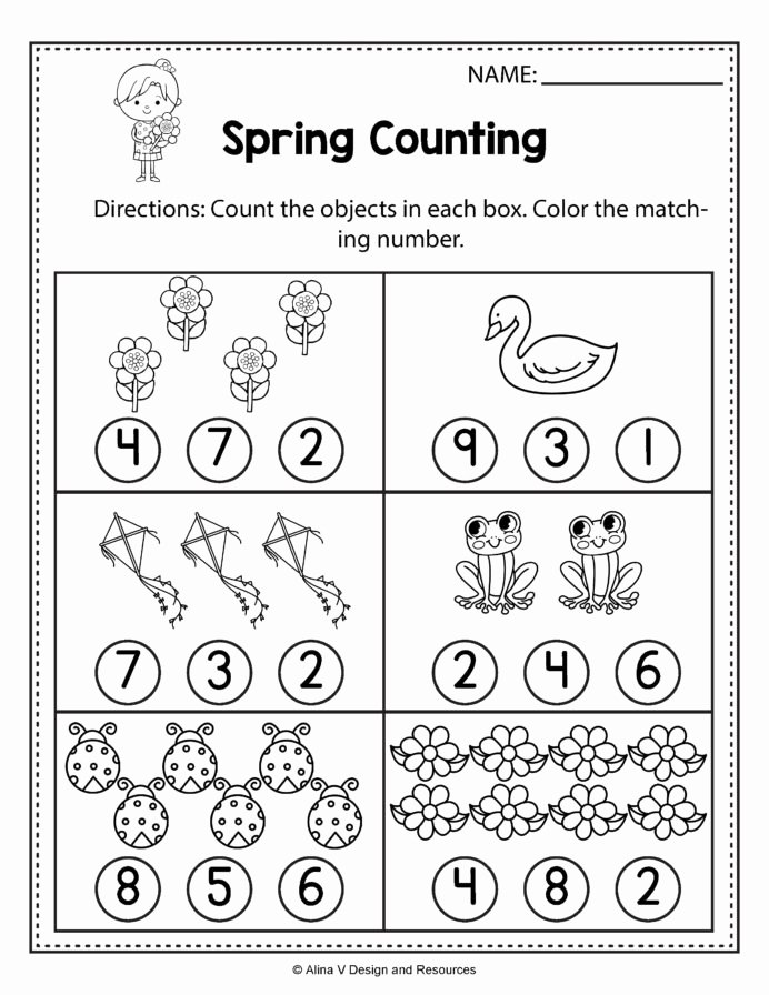 Spring Math Worksheets for Preschoolers Fresh Spring Counting Math Worksheets and Activities for 1st Grade