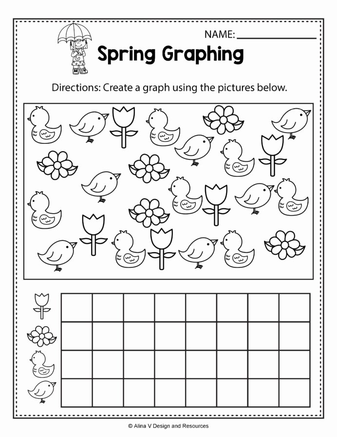 Spring Math Worksheets for Preschoolers Kids Spring Graphing Math Worksheets and Activities for Kids