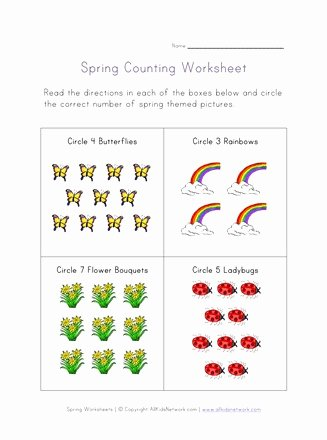 Spring themed Worksheets for Preschoolers Free Spring Counting Worksheet