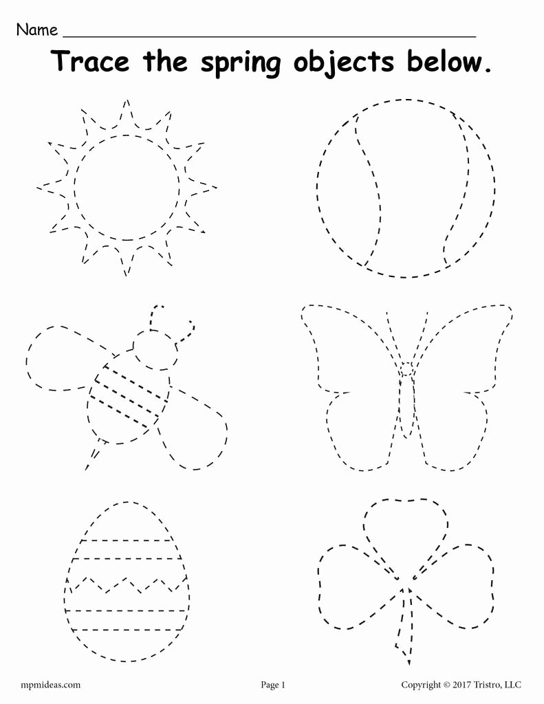 Spring themed Worksheets for Preschoolers Kids Printable Spring themed Tracing Worksheet