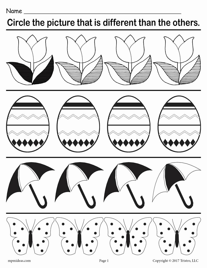 "Spring themed Worksheets for Preschoolers top ""spot the Difference"" Printable Spring themed Worksheet"