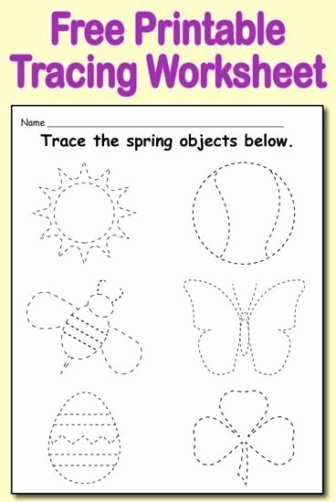 Spring Tracing Worksheets for Preschoolers Printable Printable Spring themed Tracing Worksheet