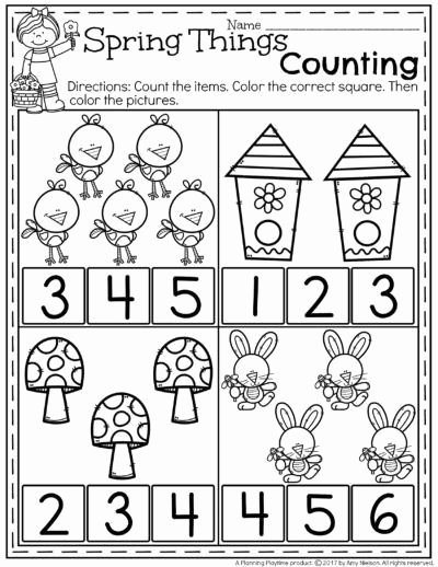 Spring Worksheets for Preschoolers Ideas Free Preschool Counting Worksheets for Spring