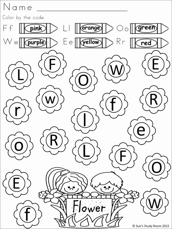 Springtime Worksheets for Preschoolers Kids Spring Letter Recognition for Prek and Color Black