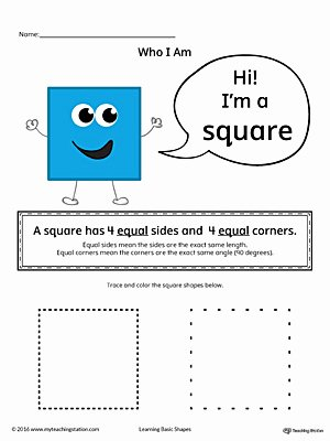 Square Shape Worksheets for Preschoolers Best Of Learning Basic Geometric Shape Square Color