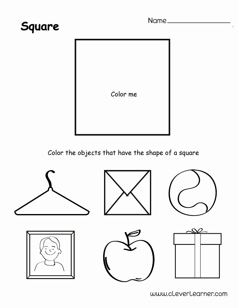 Square Shape Worksheets for Preschoolers Free Free Square Shape Activity Sheets for School Children