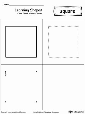 Square Shape Worksheets for Preschoolers Ideas Learning Shapes Color Trace Connect and Draw A Square