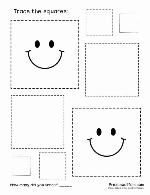 Square Shape Worksheets for Preschoolers Inspirational Shape Tracing Worksheets Preschool Mom