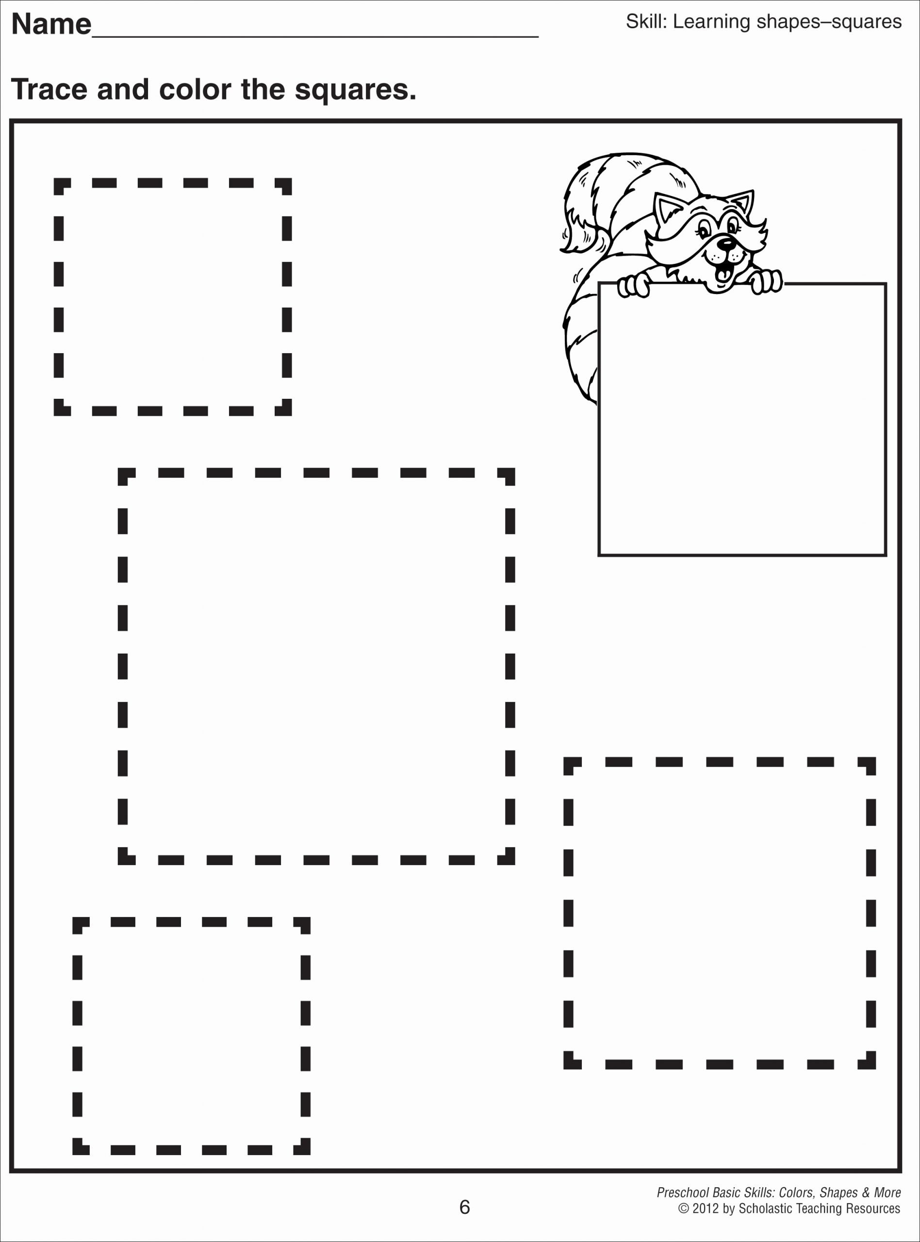 Square Shape Worksheets for Preschoolers Lovely Square Coloring Pages
