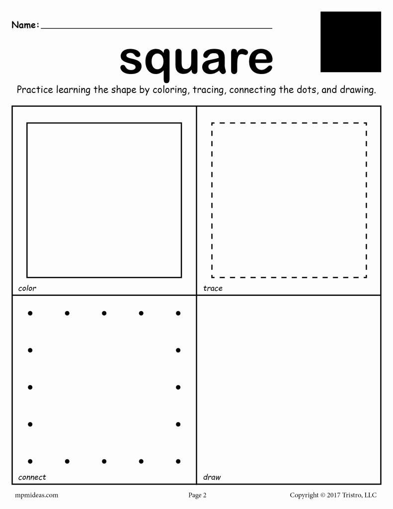 Square Shape Worksheets for Preschoolers Printable Square Shape Worksheet Color Trace Connect & Draw
