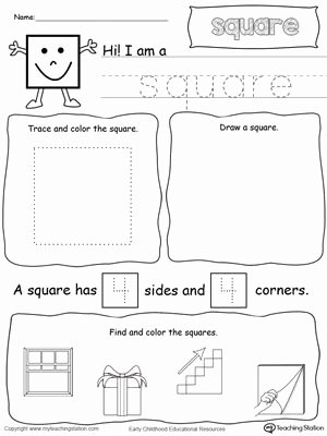 Square Worksheets for Preschoolers Kids All About Square Shapes