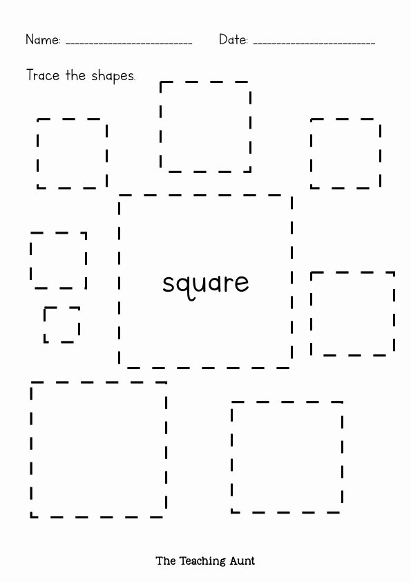 Square Worksheets for Preschoolers Printable Shapes Tracing Worksheets Free Printable the Teaching Aunt