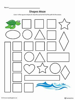 Square Worksheets for Preschoolers Printable Square Shape Maze Printable Worksheet Color