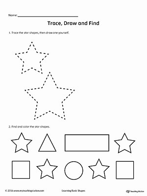 Star Worksheets for Preschoolers Inspirational Trace Draw and Find Star Shape