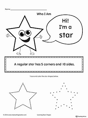 Star Worksheets for Preschoolers Lovely Learning Basic Geometric Shape Star