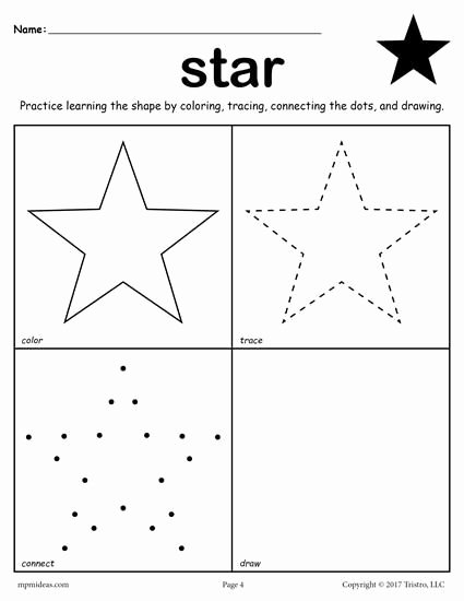 Star Worksheets for Preschoolers Printable 12 Shapes Worksheets Color Trace Connect & Draw