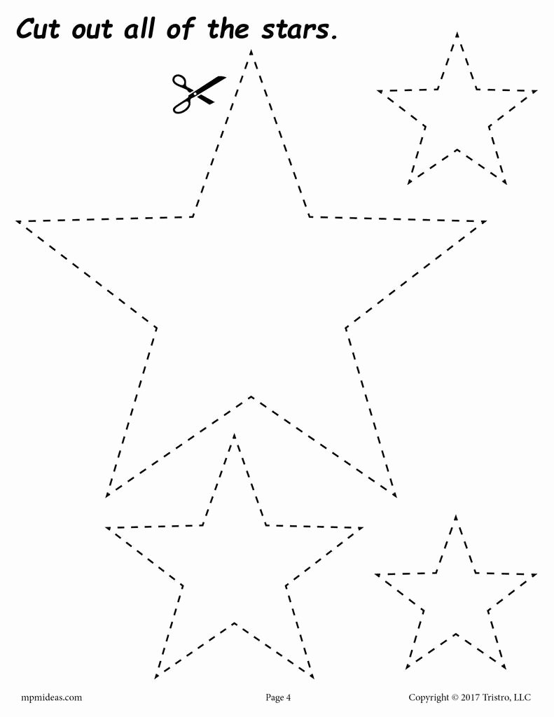 Star Worksheets for Preschoolers top Stars Cutting Worksheet
