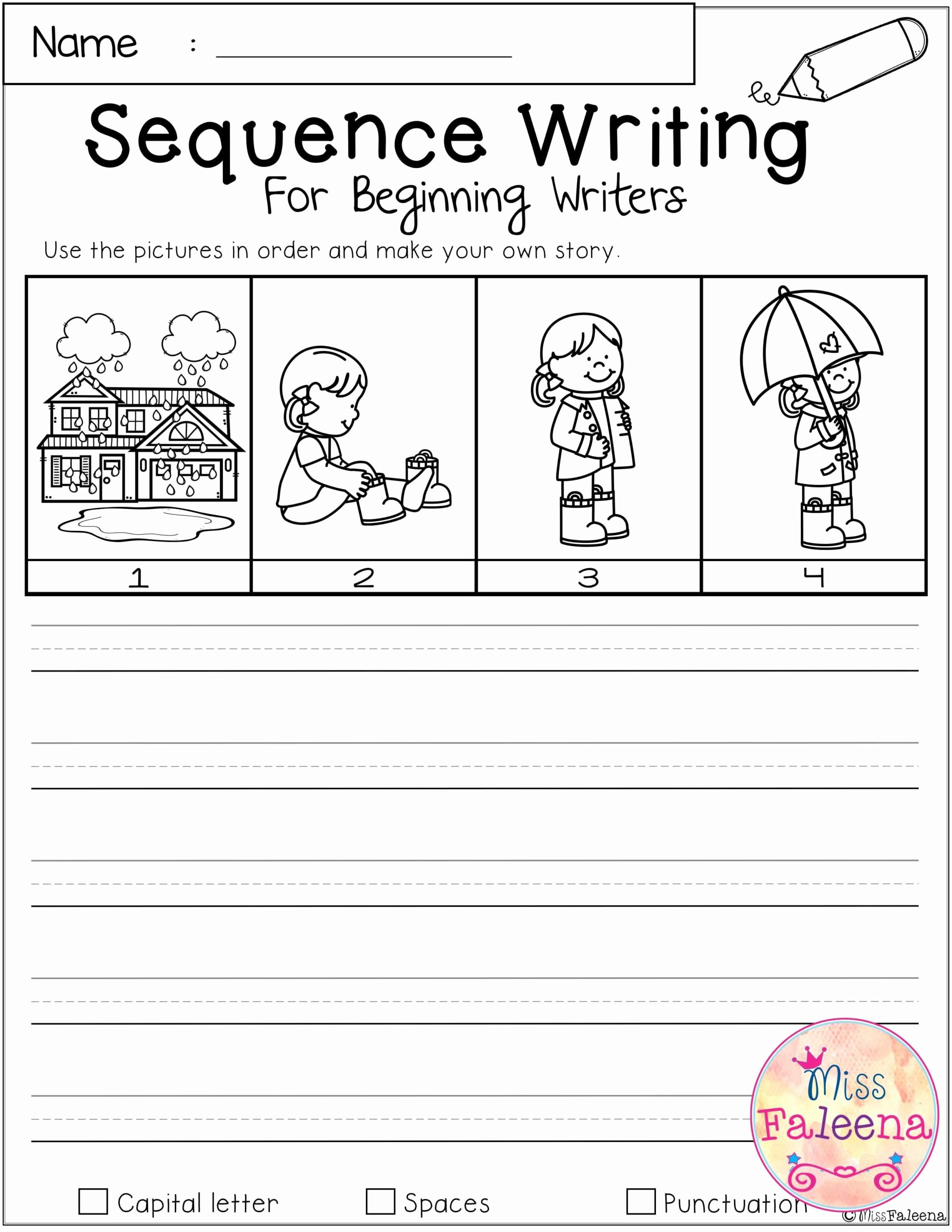 Story Sequencing Worksheets for Preschoolers Lovely March Sequence Writing for Beginning Writers Kindergarten