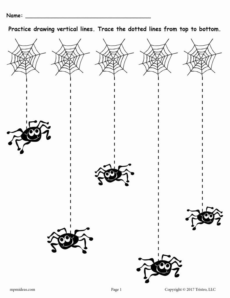 Straight Line Worksheets for Preschoolers Free Printable Halloween Line Tracing Worksheets