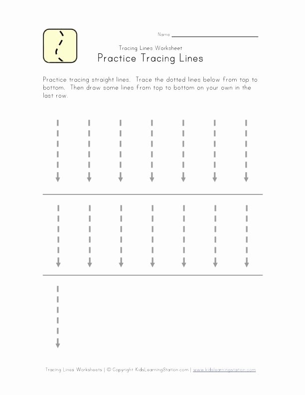 Straight Line Worksheets for Preschoolers top Trace Lines Down Worksheet