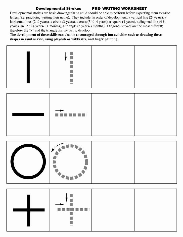 Strokes Worksheets for Preschoolers Printable Pre Writing Strokes Worksheets