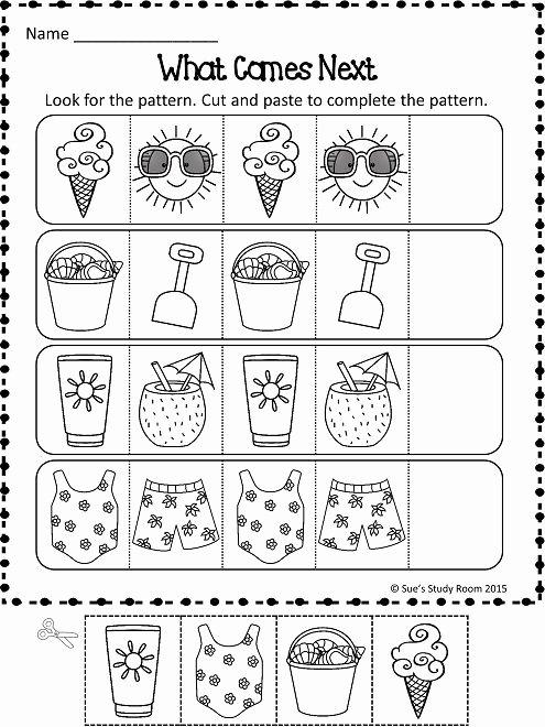 Summer Activities Worksheets for Preschoolers Fresh Patterns Summer Patterns Worksheets