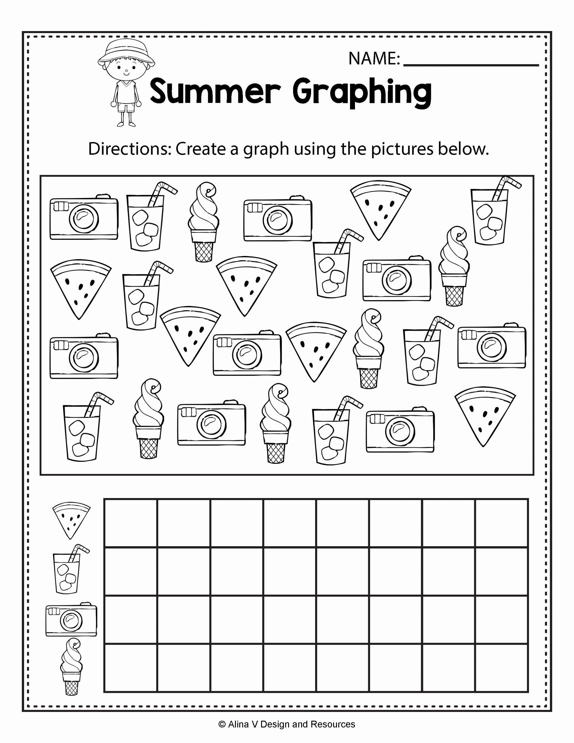 Summer Activities Worksheets for Preschoolers New Summer Graphing Summer Math Worksheets and Activities for
