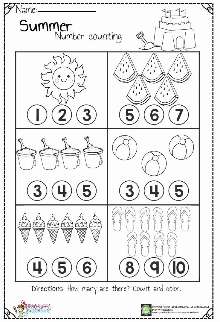 Summer Activities Worksheets for Preschoolers Printable Counting Worksheets Hs for Summer Kindergarten Preschool