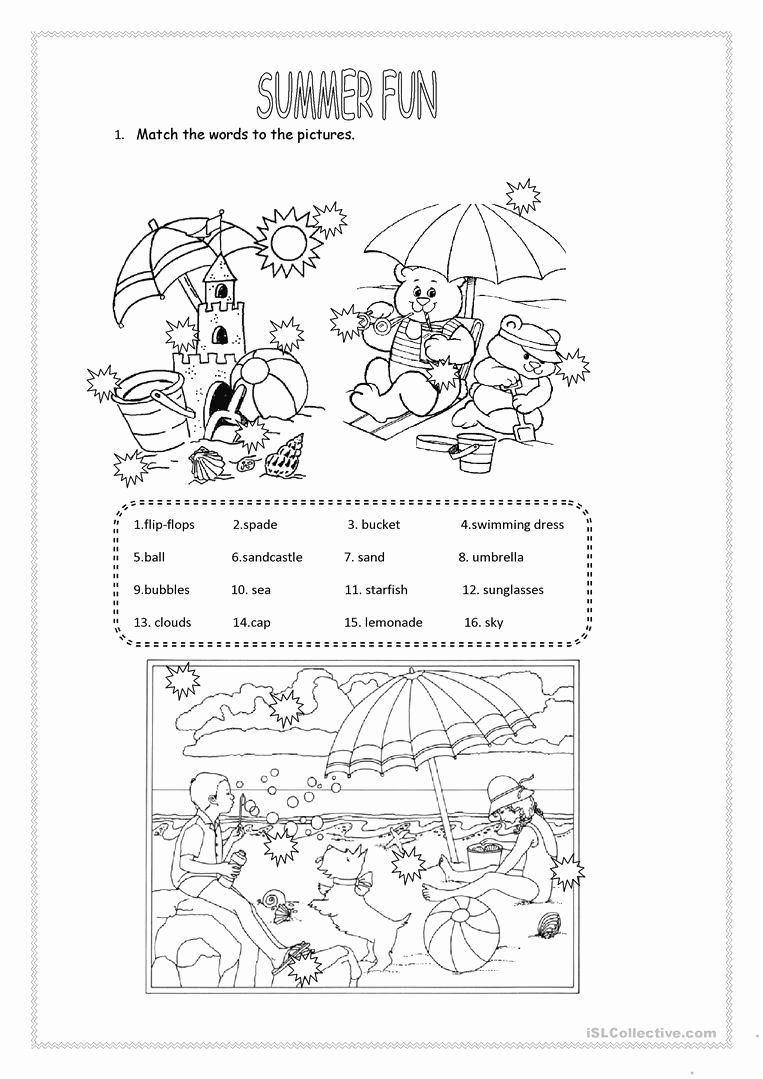 Summer Activities Worksheets for Preschoolers top English Esl Summer Worksheets Most Downloaded Results Fun