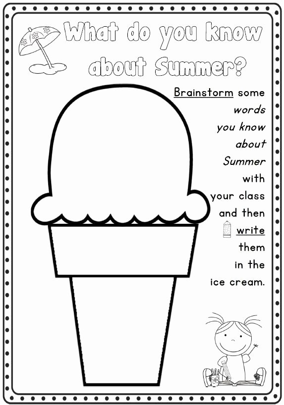 Summer Fun Worksheets for Preschoolers Free Summer Writing