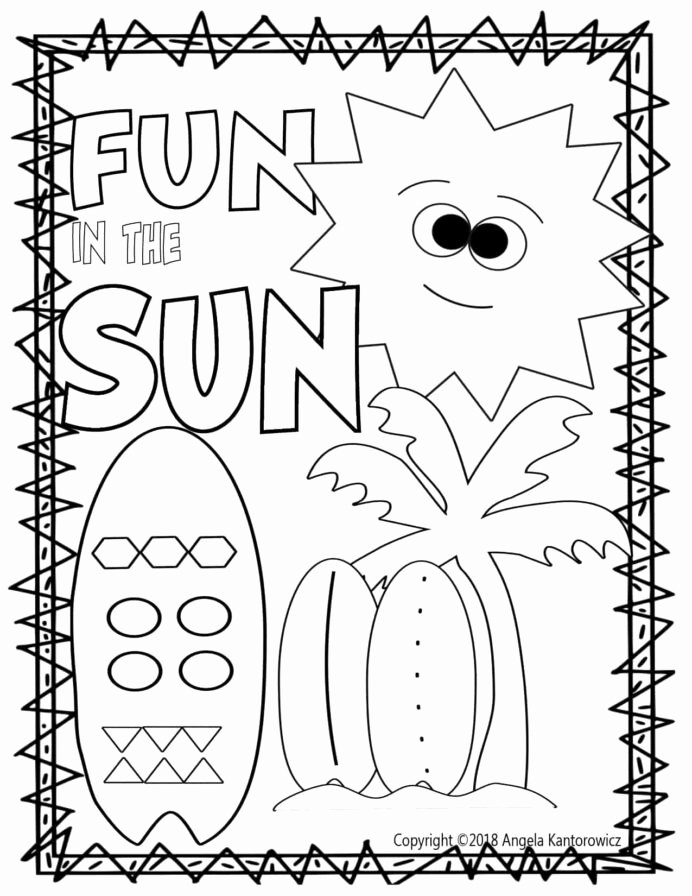 Summer Fun Worksheets for Preschoolers Fresh Fun In the Sun Color Sheet Coloring Summer Preschool Sheets