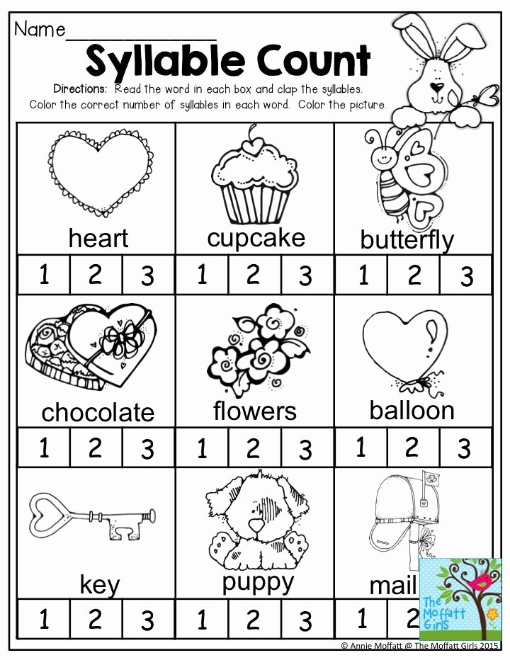 Syllables Worksheets for Preschoolers Fresh Syllable Count Clap the Syllables and Color the Correct