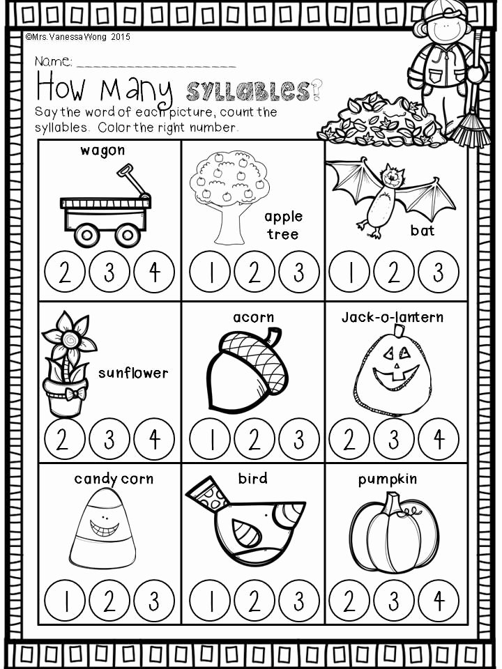 Syllables Worksheets for Preschoolers Kids Fall Activities for Kindergarten Math and Literacy No Prep