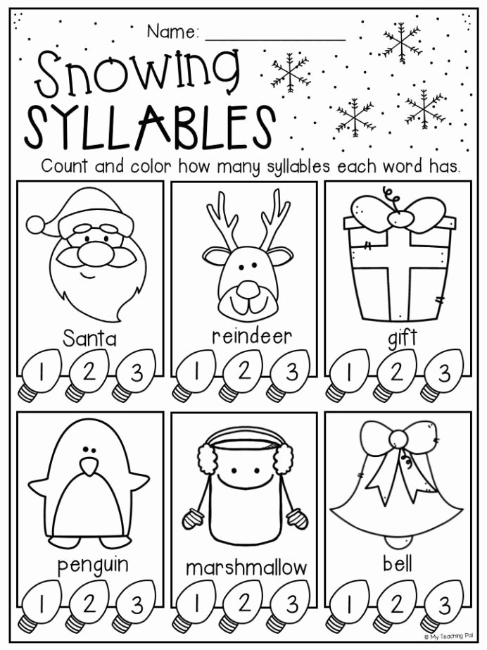 Syllables Worksheets for Preschoolers Lovely Christmas Syllables Worksheet for Kindergarten and First