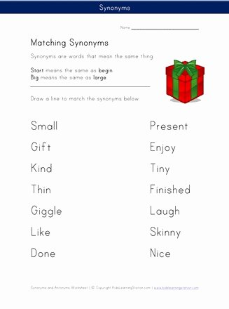 Synonyms Worksheets for Preschoolers Free Matching Synonyms Worksheet