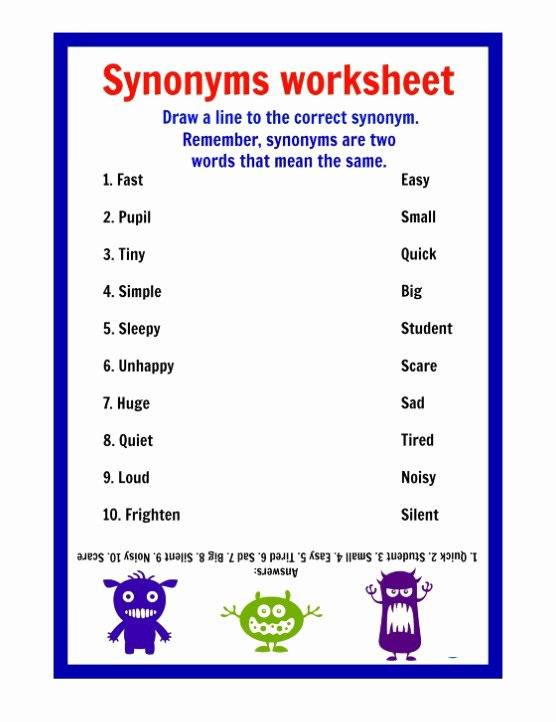 Synonyms Worksheets for Preschoolers Ideas Printable Synonyms Worksheets