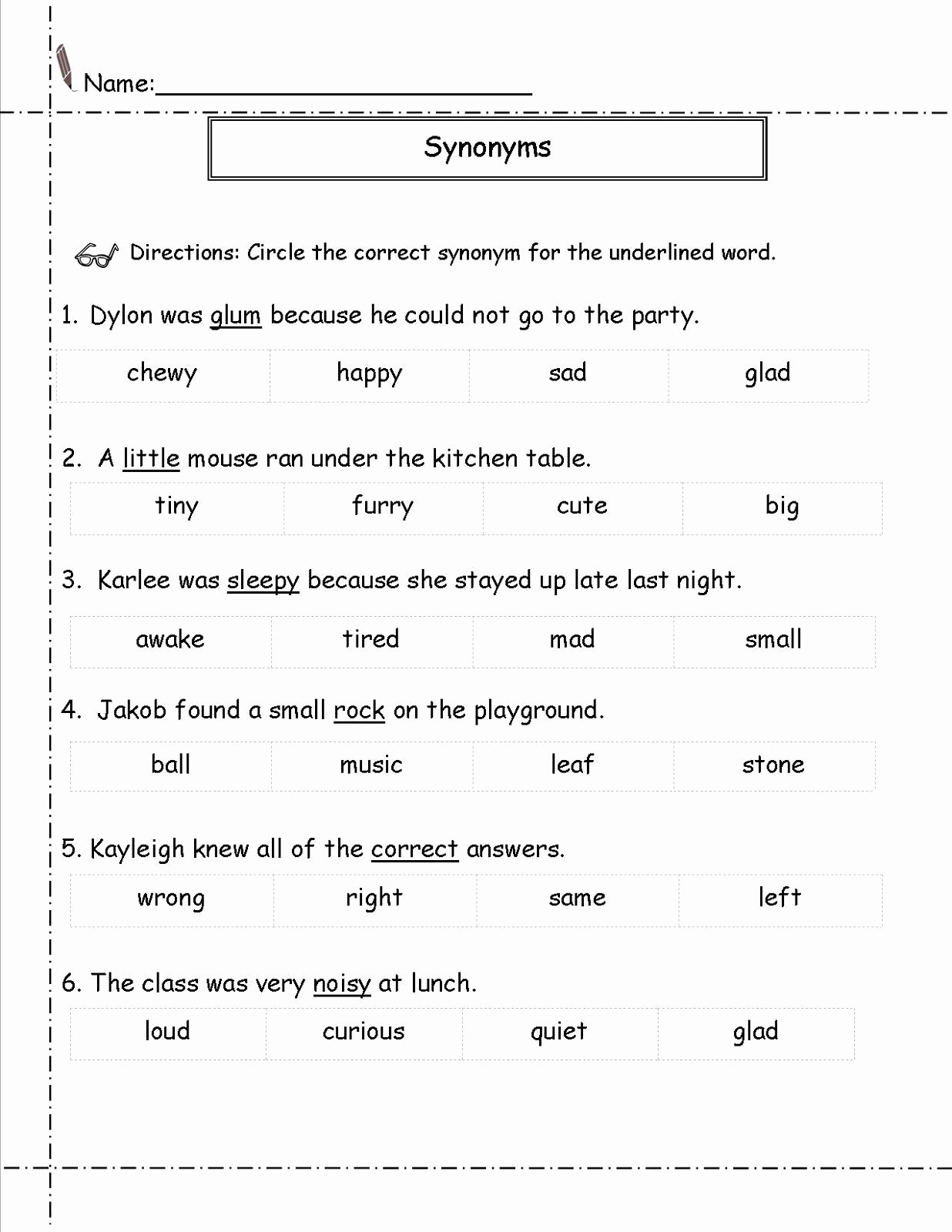 Synonyms Worksheets for Preschoolers Kids Second Grade Worksheets Synonym
