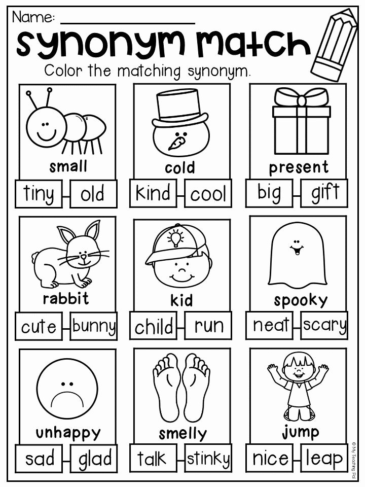 Synonyms Worksheets for Preschoolers New Synonym Worksheet for Kindergarten and First Grade Students
