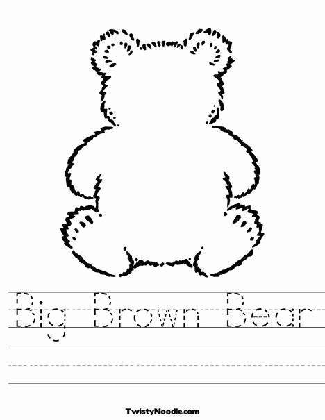 Teddy Bear Worksheets for Preschoolers Best Of Big Brown Bear Worksheet