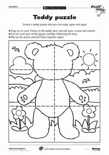 Teddy Bear Worksheets for Preschoolers Fresh Teddy Puzzle – Free Early Years Teaching Resource