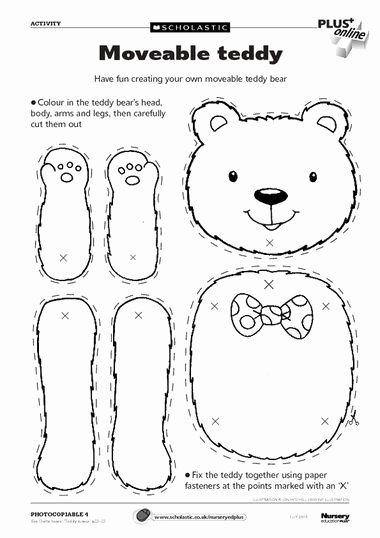 Teddy Bear Worksheets for Preschoolers Ideas Moveable Teddy – Free Early Years Teaching Resource