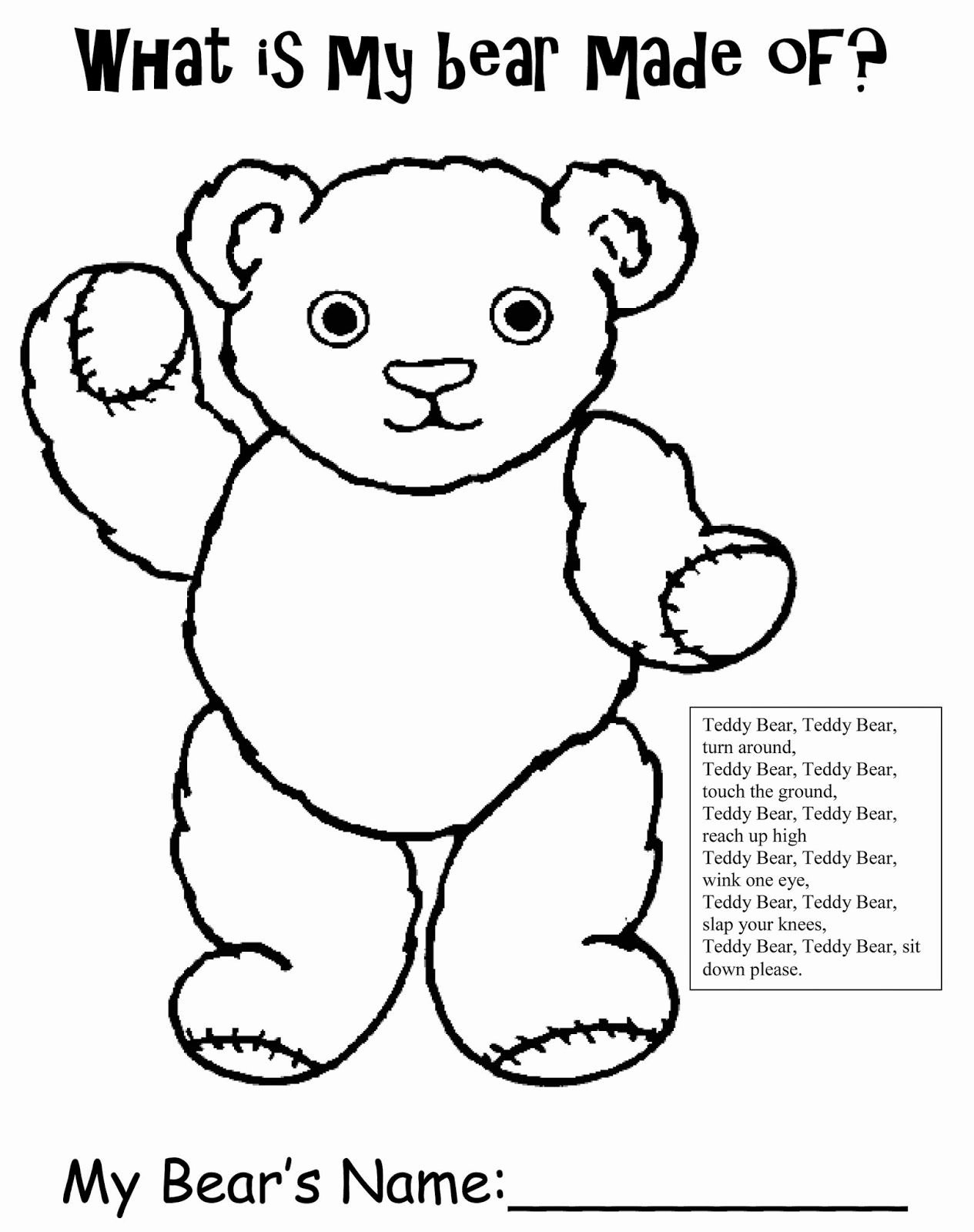 Teddy Bear Worksheets for Preschoolers Kids Bear Printable Homework Sheets for Preschool Teddy Bear Free