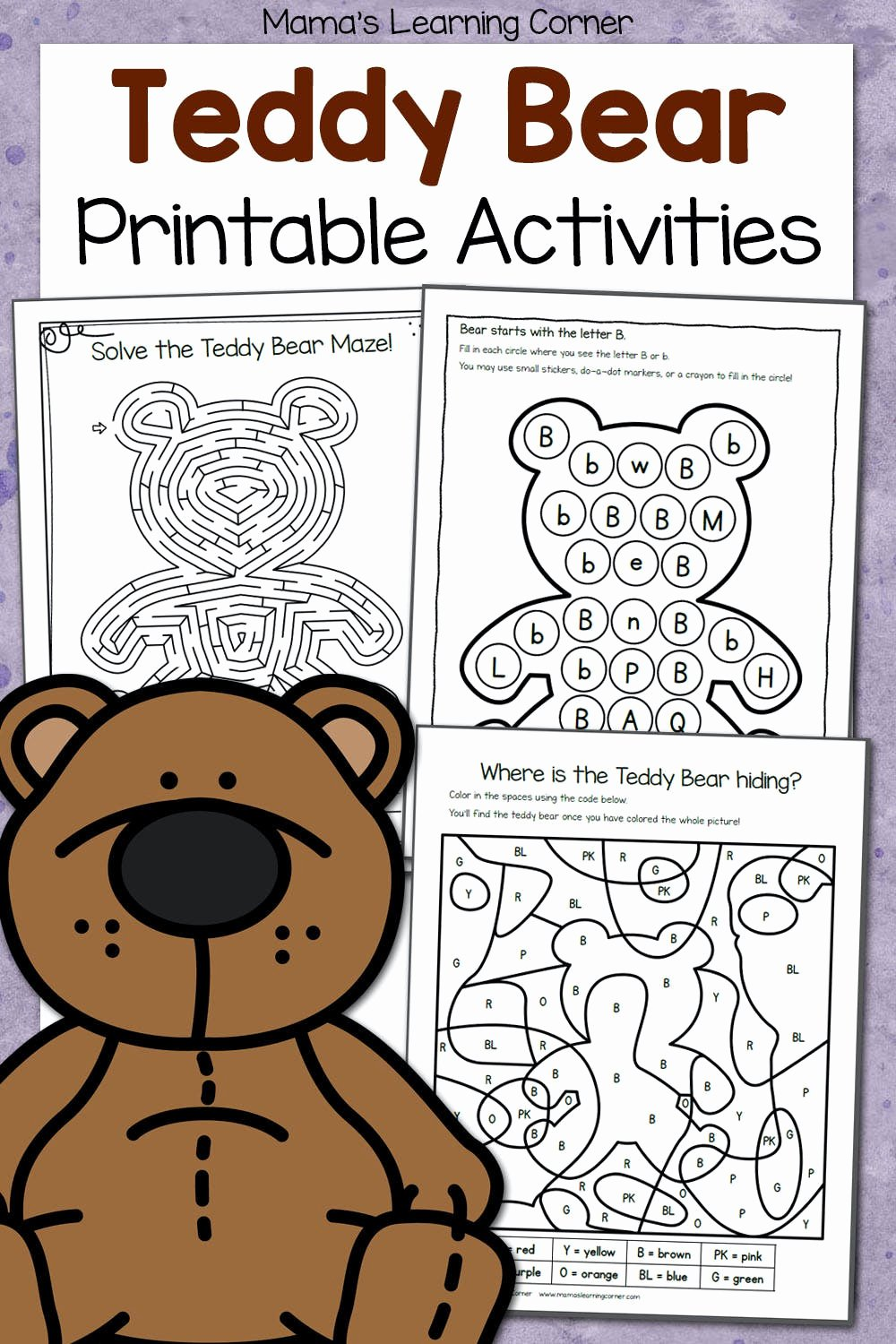 Teddy Bear Worksheets for Preschoolers Kids Teddy Bear Activities Printable Packet Mamas Learning Corner