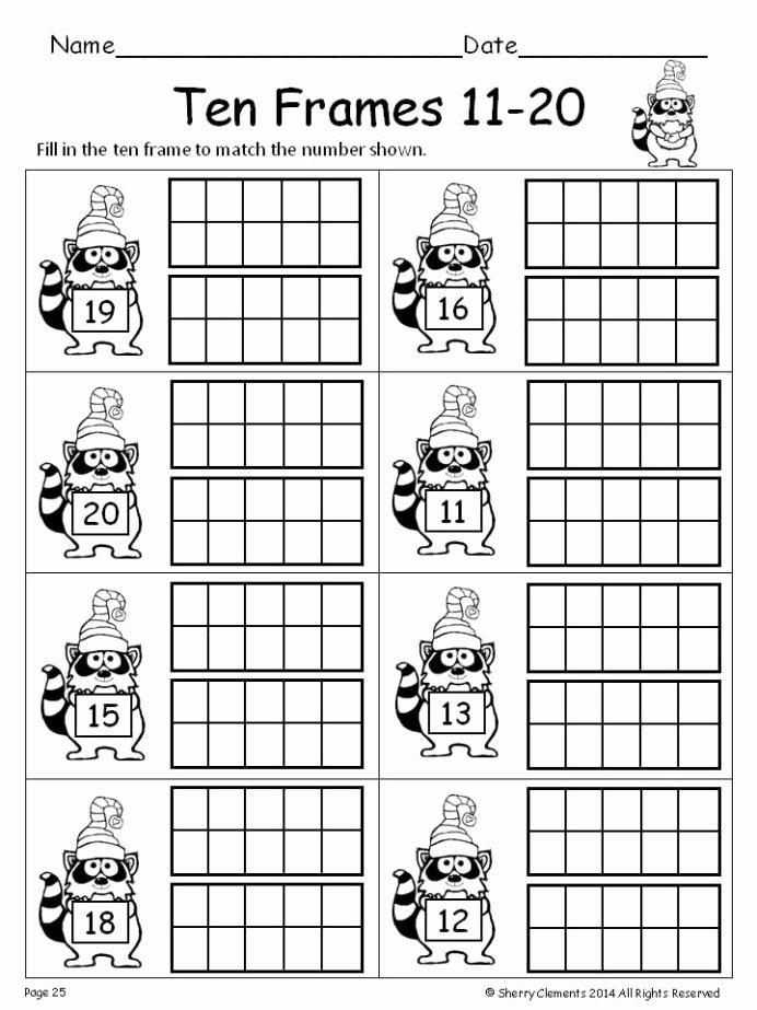 Ten Frame Worksheets for Preschoolers Kids Winter Ten Frames Kindergarten Math Teens First 1st Grade