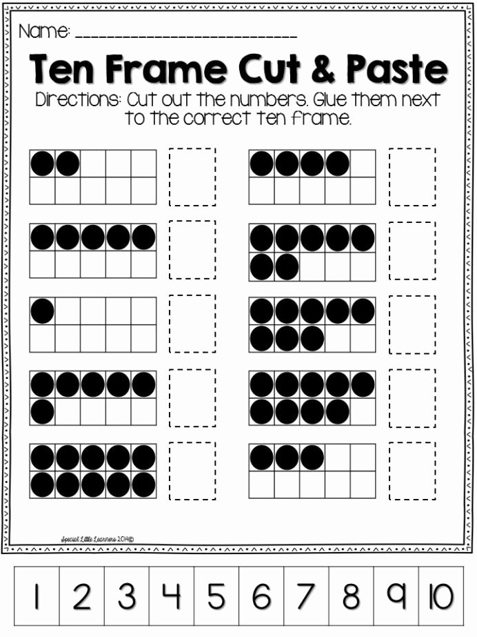 Ten Frame Worksheets for Preschoolers Lovely Pleted Ten Frames with the Numbers In order Frame Math