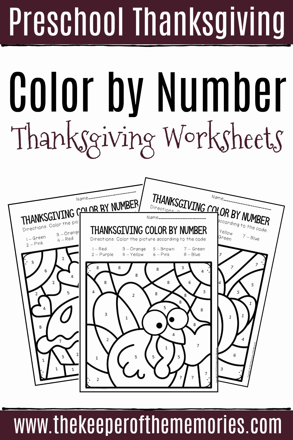 Thanksgiving Counting Worksheets for Preschoolers Free Color by Number Thanksgiving Preschool Worksheets
